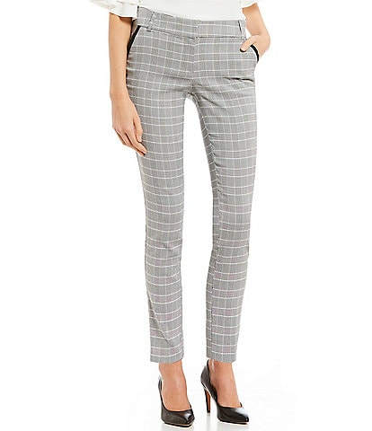 Takara Coordinating Piping-Detailed Menswear Plaid Dress Pants