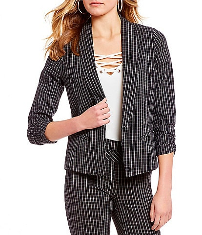 Takara Ruched-Sleeve Coordinating Menswear Plaid Blazer