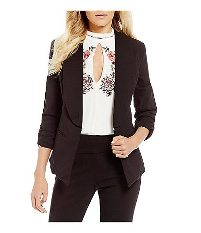 Takara Ruched Sleeve Suiting Blazer