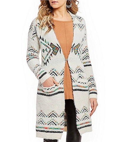 4cfaa70f6dd68 Takara Tribal Print Eyelash Cardigan Coat