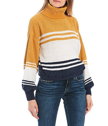 Takara Turtle Neck Chenille Color Block Striped Sweater