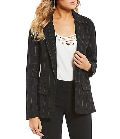 Takara Menswear Windowpane-Plaid Suit Blazer