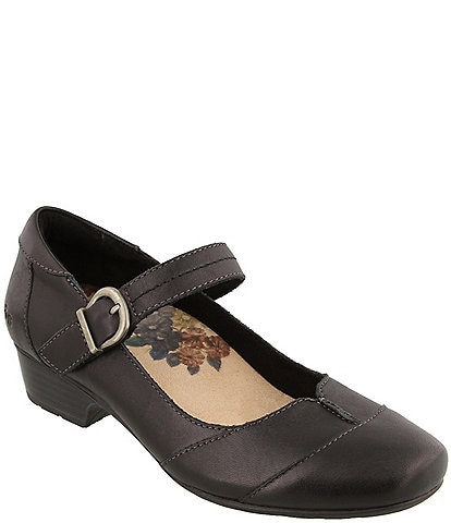 Taos Footwear Balance Leather Block Heel Mary Janes