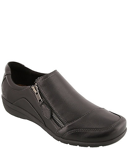 Taos Footwear Character Leather Side Zip Wedge Slip Ons