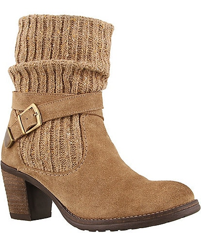 Taos Footwear Cozy Top Suede Sweater Faux Fur Lined Booties