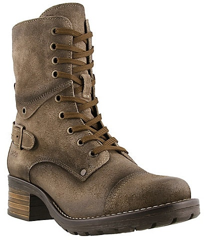 Taos Footwear Crave Distressed Leather Combat Booties