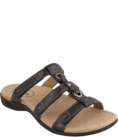 Taos Footwear Nifty Banded Leather Slide Sandals