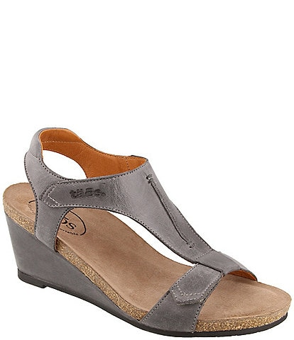 Taos Footwear Sheila Banded Leather Wedge Sandals