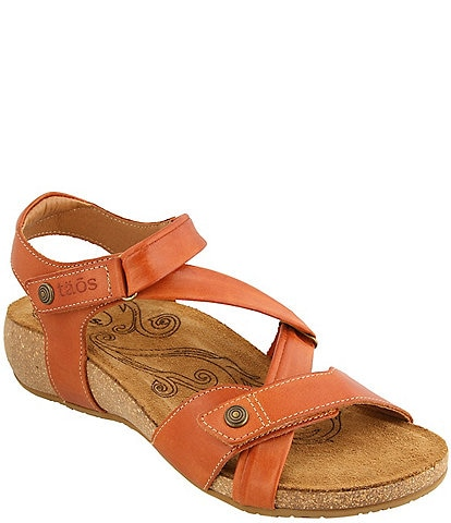 Taos Footwear Universe Banded Leather Wedge Sandals
