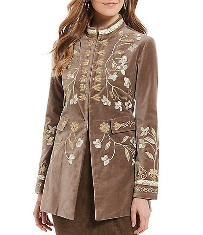 Tasha Polizzi Berkshire Embroidered Mandarin Collar Velveteen Military Jacket