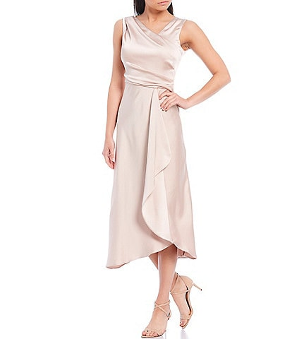 Taylor Asymmetric V-Neck Sleeveless Ruffle Satin Crepe Midi Dress
