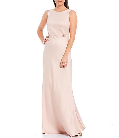 Taylor Boat Neck Sleeveless Solid Satin Crepe Mermaid Gown