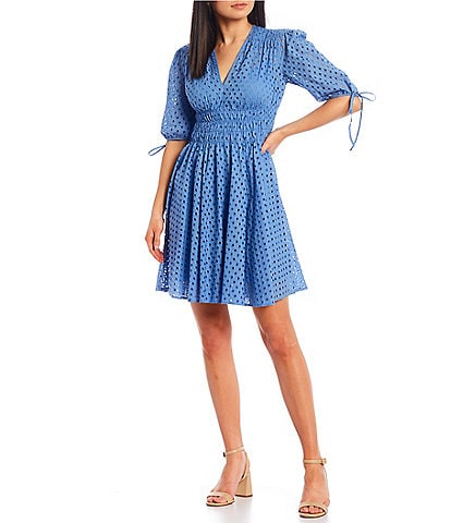 Taylor Cotton Eyelet Fit & Flare Dress
