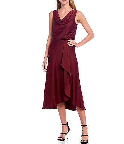 Taylor Drape Neck Sleeveless Satin Ruffle Front Blouson Midi Dress