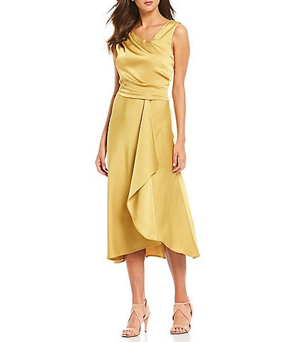 Taylor Draped Crepe Back Satin Cascade Ruffle Front Detail Midi Dress
