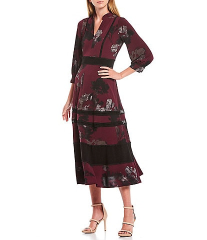 Taylor Floral Print V-Neck 3/4 Sleeve Jersey Midi Dress