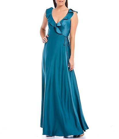 Taylor Ruffle V-Neck Sleeveless Satin Crepe Gown