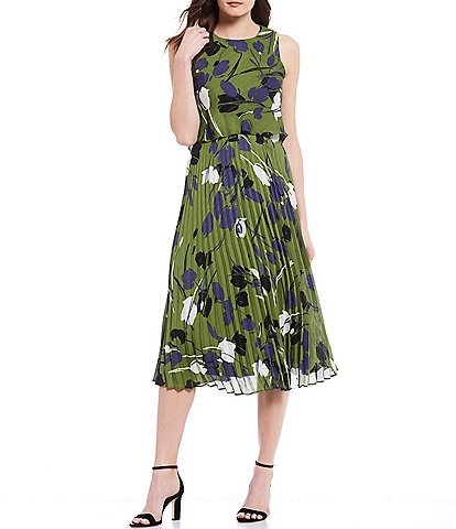 Taylor Sleeveless Floral Print Pleated Popover A-Line Midi Dress