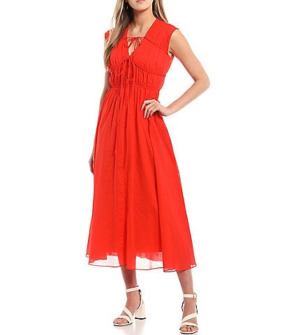 Taylor Tie Neck Rouched Maxi Dress