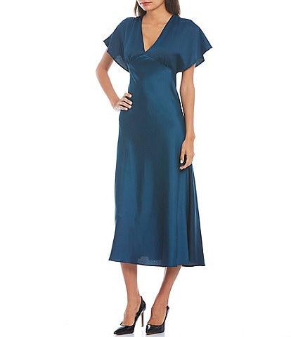 Taylor V-Neck Flutter Sleeve Satin Midi Dress