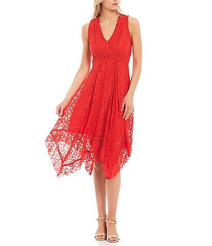 Taylor V-Neck Stretch Lace Midi Dress