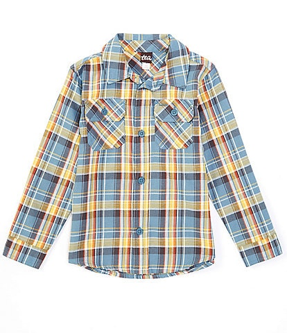 Tea Collection Little Boys 2-6 Long-Sleeve Blue Plaid Button-Front Shirt