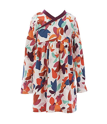 Tea Collection Little Girls 2-6 Long-Sleeve Floral Faux-Wrap Dress