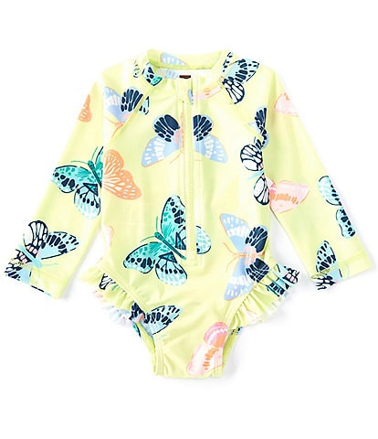 Tea Collection Toddler Girls 2T-4T Butterfly Print Rashguard One-Piece Swimsuit