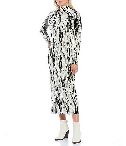 Ted Baker London Kyliea Abstract Print Mock Neck Long Sleeve Bodycon Midi Dress