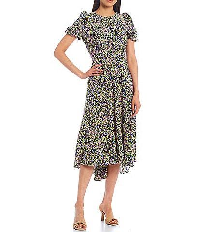 Ted Baker London Deyja Short Sleeve Print Midi Dress