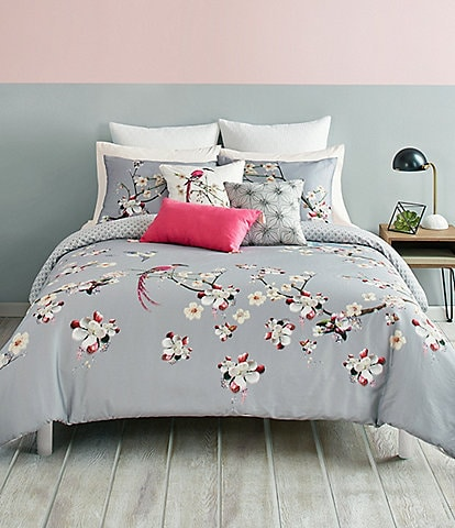 Ted Baker London Flight of the Orient Floral Grey Comforter Mini Set