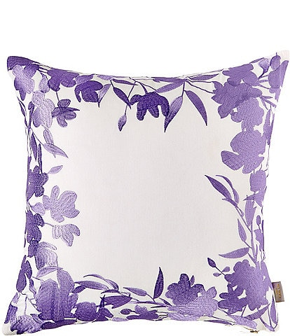 Ted Baker London Hedgerow White/Lilac Embroidered Floral Frame Square Pillow