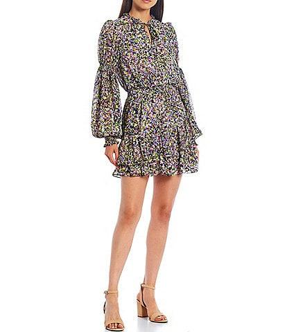 Ted Baker London Karlie Floral Print Long Sleeve Split Round Tie Neck Tiered Ruffle Dress