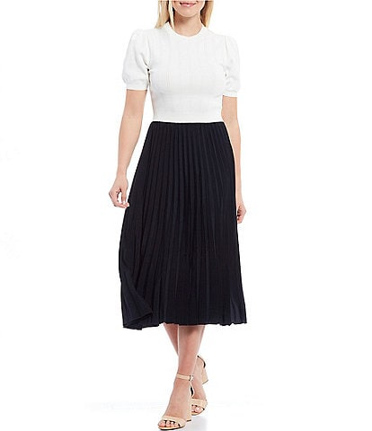Ted Baker London Knito Puff Sleeve Crew Neck Colorblock A-Line Midi Dress