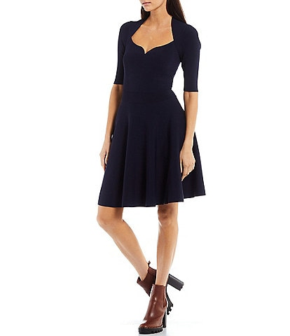 Ted Baker London Milly Sweetheart Neck Elbow Short Sleeve Fit and Flare Dress