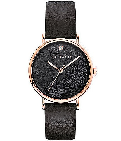 Ted Baker London Phylipa Black Embossed Flower Three-Hand Watch