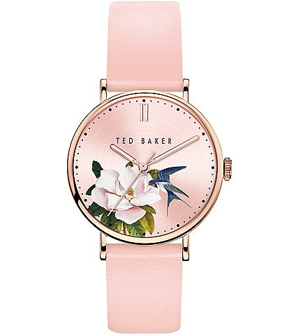 Ted Baker London Phylipa Pink Flower Three-Hand Watch