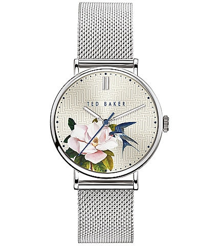 Ted Baker London Phylipa Silver Flower Three-Hand Watch