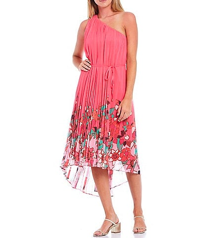 Ted Baker London Pinta Print One Shoulder Hi-Low Midi Dress