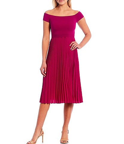 Ted Baker London Reniqa Knit Cap Sleeve Pleated A-Line Midi Dress