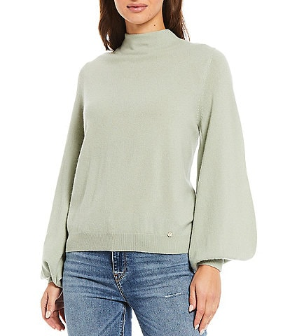 Ted Baker London Shano Mock Neck Balloon Long Sleeve Cashmere Statement Sweater