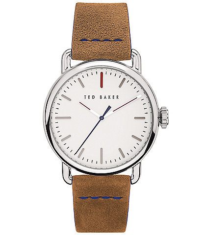 Ted Baker London Tomcoll Tan Strap Three-Hand White Dial Watch