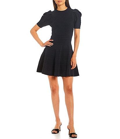 Ted Baker London Velvey Puff Sleeve Knit Mini Dress