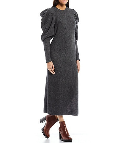 Ted Baker London Victoria Extreme Long Puff Sleeve Crew Neck Wool Blend Midi Sweater Dress