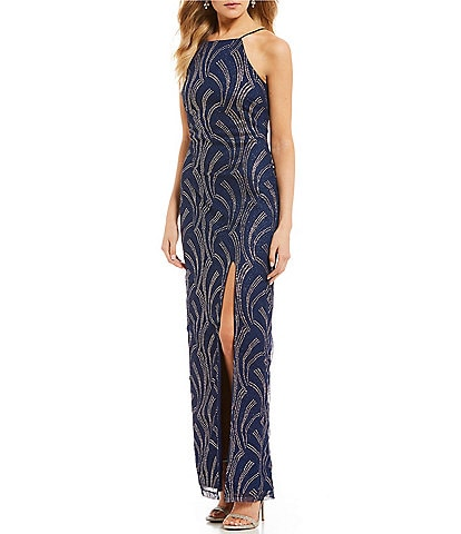 Teeze Me High Neck Glitter Ity Long Dress