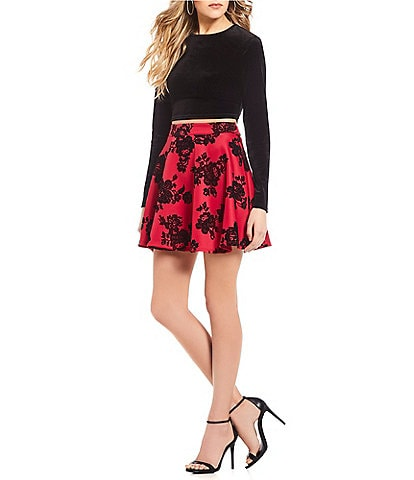 Teeze Me Long Sleeve Velvet Top with Flocked Skirt Two-Piece Dress