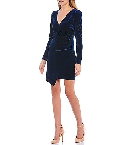 Teeze Me Long Sleeve Velvet Faux-Wrap Dress