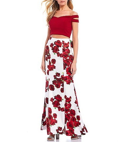Teeze Me Off-the-Shoulder Cap-Sleeve Top with Floral Print Trumpet Skirt Two-Piece Dress