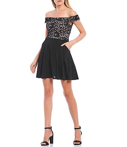 Teeze Me Off-The-Shoulder Lace Bodice Skater Dress