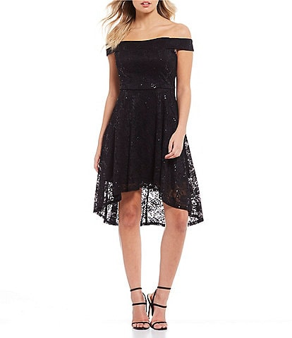 Teeze Me Off-the-Shoulder Sequin Lace High-Low Dress